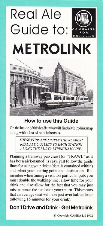 Real Ale Guide to Metrolink - 1992
