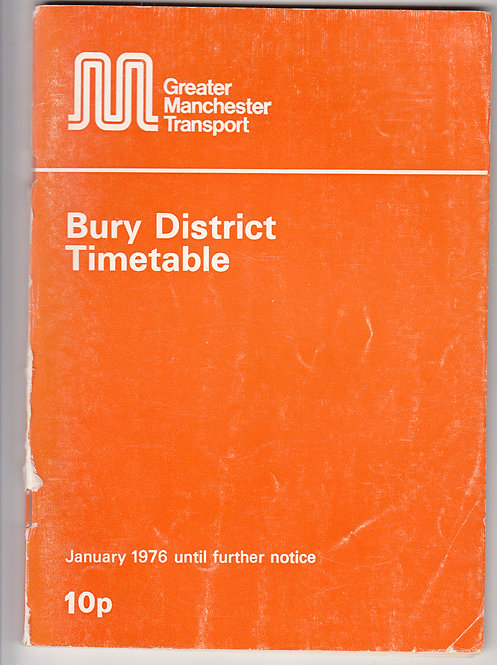 Greater Manchester Transport Timetable - Bury - January 1976