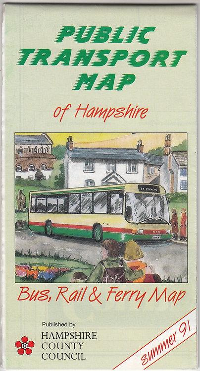 Hampshire Bus Map - 1991