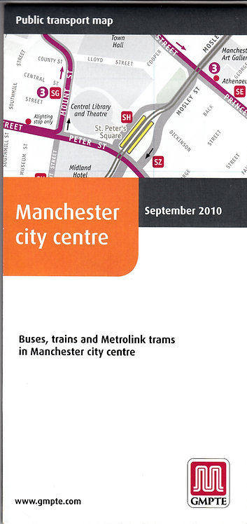 Greater Manchester PTE - city centre map - September 2010