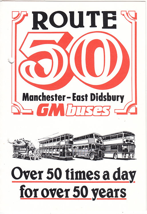 Bus Timetable Leaflet - GM Buses service 50 - February 1988