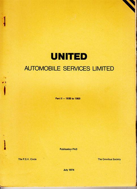United Automobile Services Ltd - Fleet History PA3 - 1935-1950