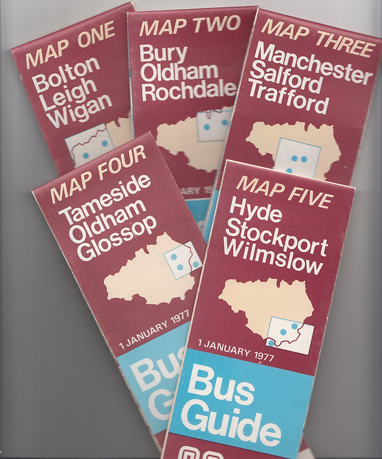 Greater Manchester Transport Maps (set of 5) - 1977
