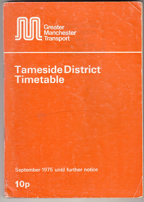 Greater Manchester Transport Timetable - Tameside - September 1975