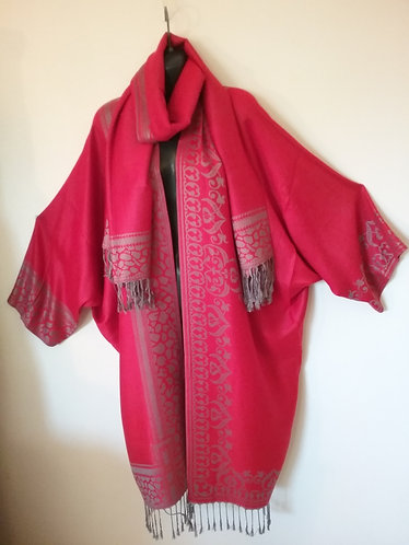Red/Grey border Pashmina Jacket with Scarf