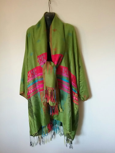 Green/red border Pashmina Jacket with Scarf