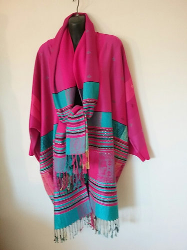Pink Aqua Pashmina Jacket with Scarf