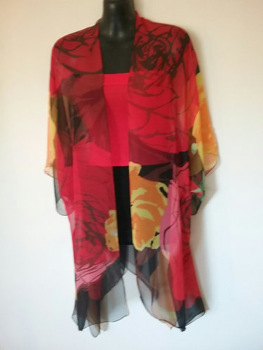 Red Black Floral wrap