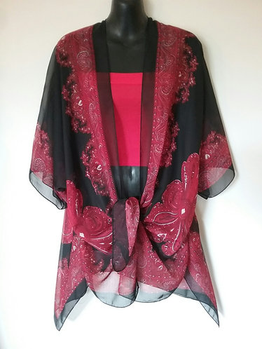 Black/Red Paisley wrap