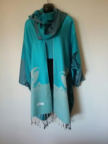 Blue Pashmina Jacket with Scarf