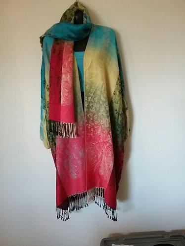 Multi-coloured Pashmina Jacket with Scarf