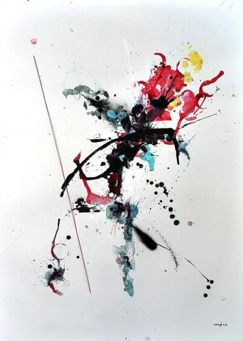 Der rote Faden 2018 Aquarell, Acryl, Pigmenttusche, rote Schnur auf Papier 100 x 70 cm