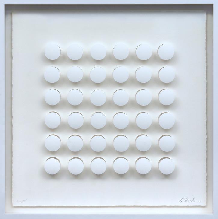 Ralph Kerstner Schwerelos 2019 Prägung in Büttenpapier 7 Ex. 55 x 55 cm