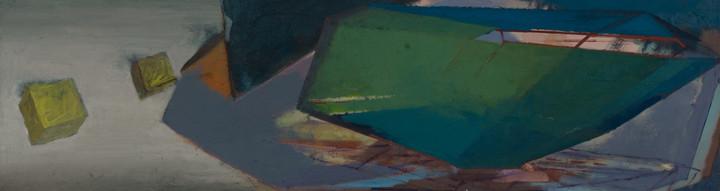 Fluchtpunkt 2019 Eitempera, Öl und Pigmente auf Leinwand 35 x 125 cm