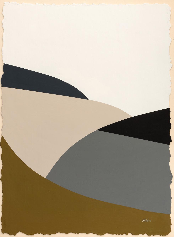 Lignes urbaines khaki 2 2019 Acryl, handgeschöpftes Papier 52 x 38 cm