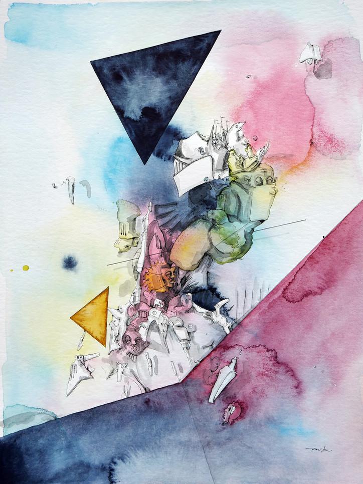 Peer Kriesel Jetzt aber Abflug 2020 Aquarell, Acryl, Pigmentinte auf Papier 40 x 30 cm