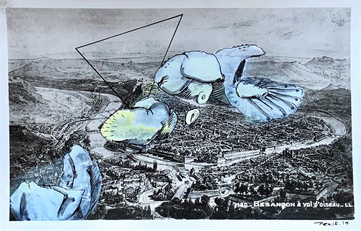Besançon à vol d'oiseau 2019 Mischtechnik auf Postkarte 9 x 14 cm