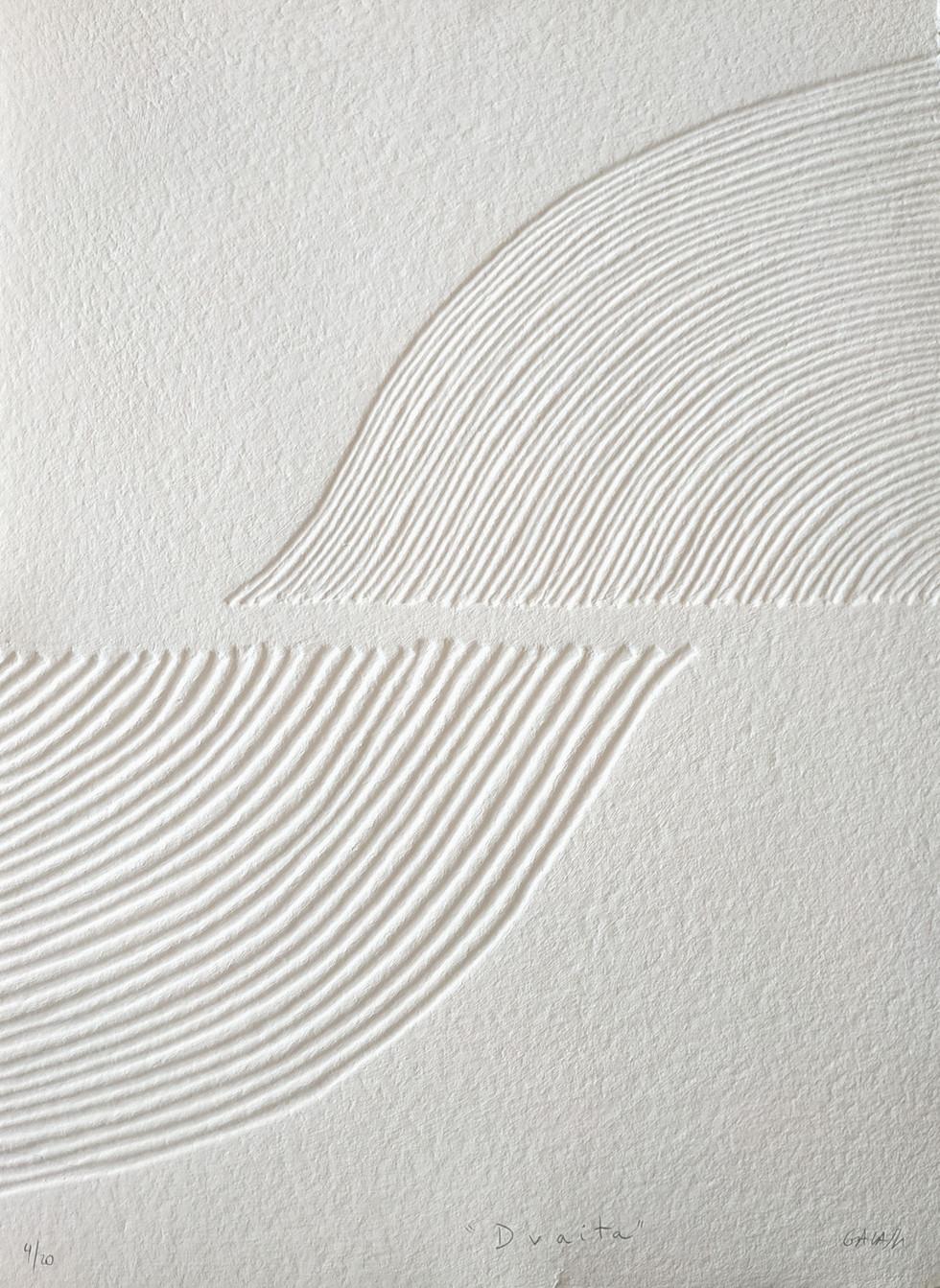 Dvaita Papierreliefabdruck, 20 Ex., 77 x 56 cm, verso sign. & num.