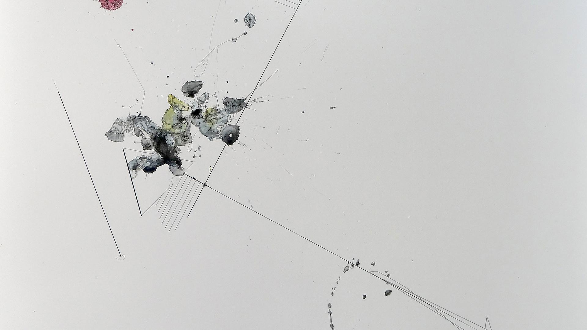 Peer Kriesel Weiße Balance III 2018 Aquarell, Acryl, Pigmenttusche auf Papier 100 x 70 cm