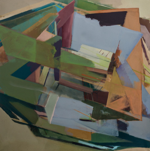 Rekursive II 2018 Eitempera, Acryl und Pigmente auf Leinwand 100 x 100 cm