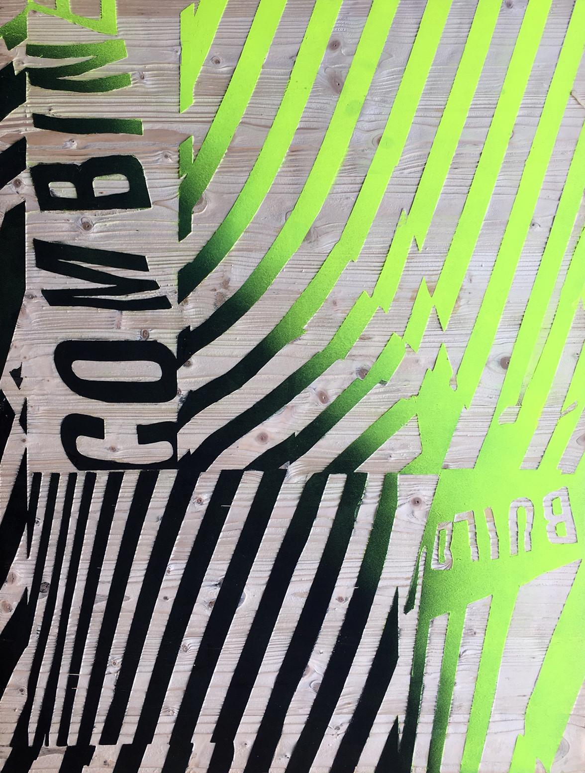 Kai Linke: BLASTED-Combine (in Kooperation mit Pixelgarten), 2011,  Holz mit Lack, gesandstrahlt, 100 x 75 x 1,9 cm