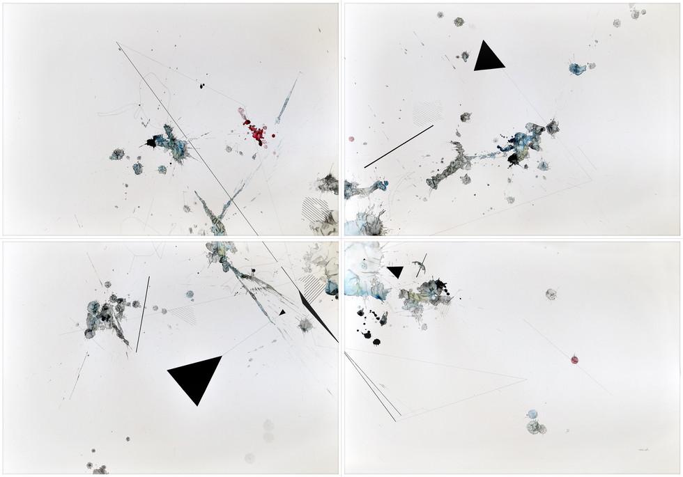 Stay high 2019 Mischtechnik auf Papier 140 x 200 cm