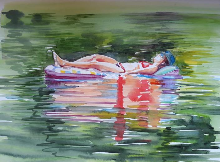 Cameron Rudd Schlachtensee IV 2019 Aquarellfarbe auf Papier 50 x 60 cm gerahmt