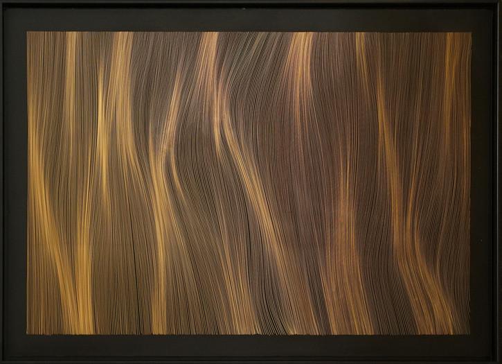 John Franzen Each Line one Breath 2020 Radierung auf schwarz überzogener kupfereloxierter Aluminiumplatte 80 x 120 cm