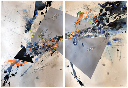 Peer Kriesel Ursprung der Welt 2018 Mischtechnik auf Papier 100 x 140 cm