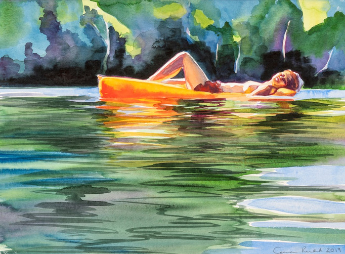 Cameron Rudd o.T. (Girl on lilo) 2019 Aquarell auf Papier 29 x 39 cm