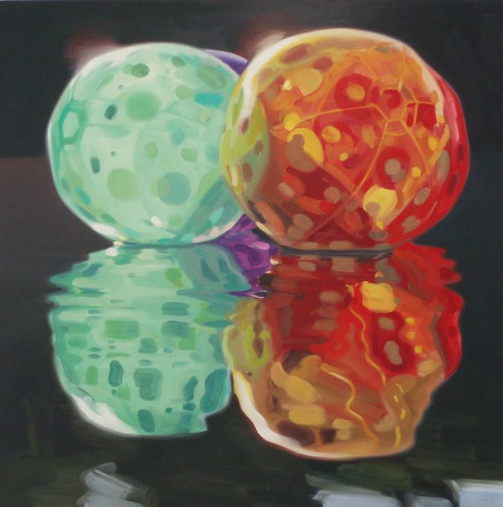 Cameron Rudd 4 Balls 2008 Öl auf Leinwand 100 x 100 cm - verkauft -
