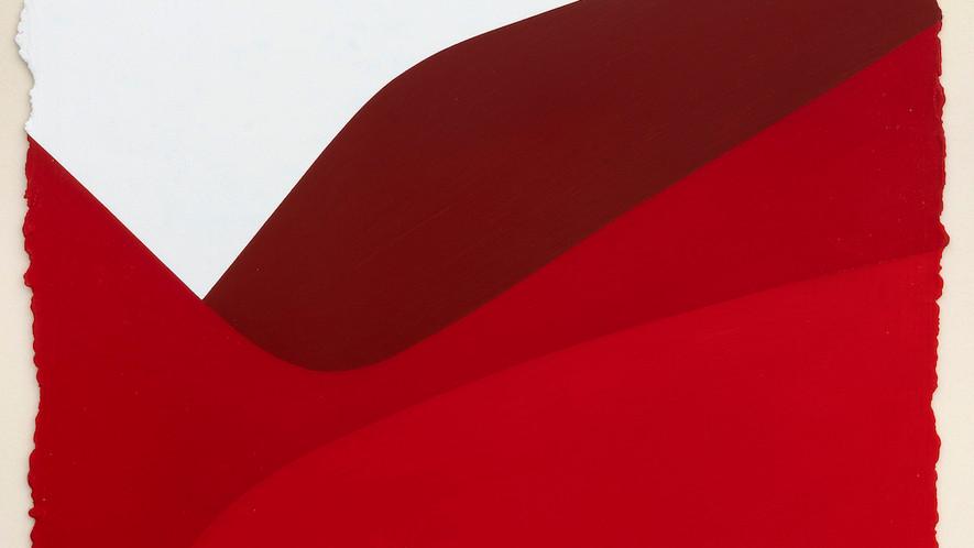 René Galassi Lignes urbaines rouge 3 2019 Acryl auf handgeschöpftem Papier 52 x 38 cm