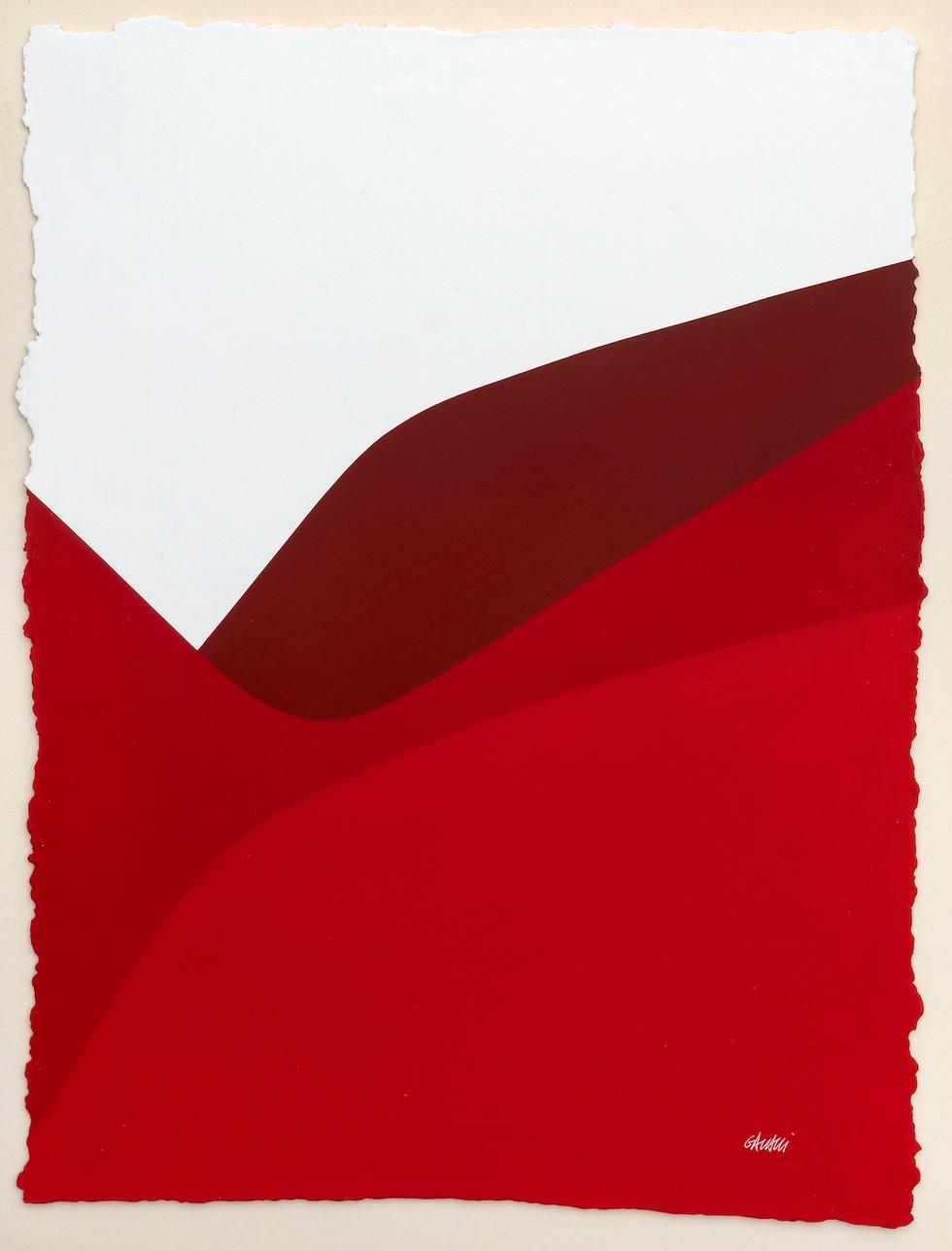 Lignes urbaines rouge 3 2019 Acryl auf handgeschöpftem Papier 52 x 38 cm