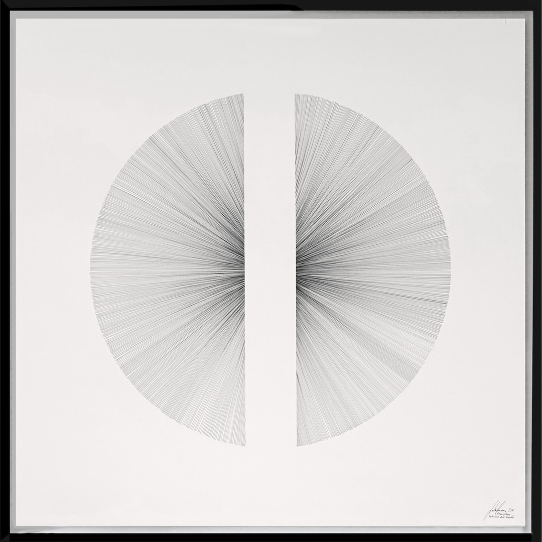 John Franzen Hemisphere 2017 Fineliner auf Papier 100 x 100 cm