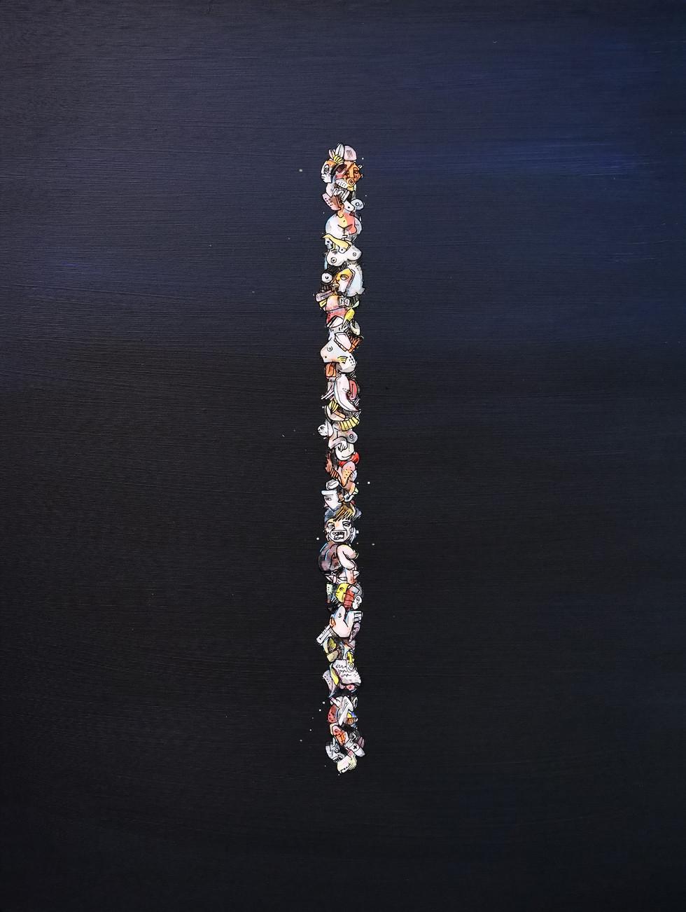 """Peer Kriesel Der große Bluff (aus der Serie """"One Line"""") 2020 Acryl auf Leinwand, 80 x 60 cm"""