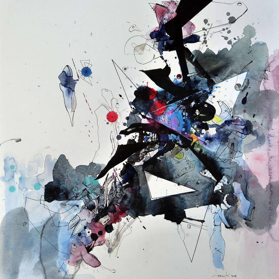 Blue vs. X 2018 Aquarell, Acryl, Pigmenttinte auf Papier 50 x 40 cm