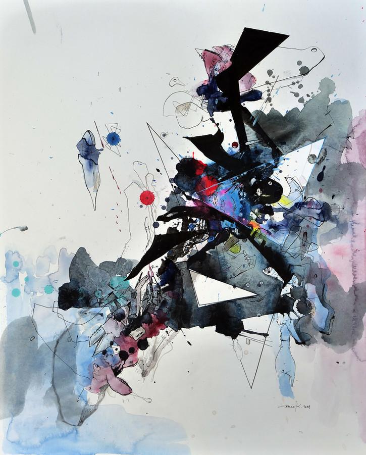 Blue vs. X 2018 Aquarell, Acryl, Pigmenttusche auf Papier 50 x 40 cm