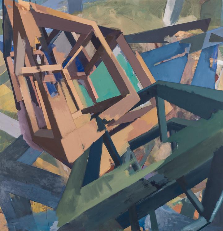 Cascading II 2019 Eitempera, Öl und Pigmente auf Leinwand 160 x 155 cm