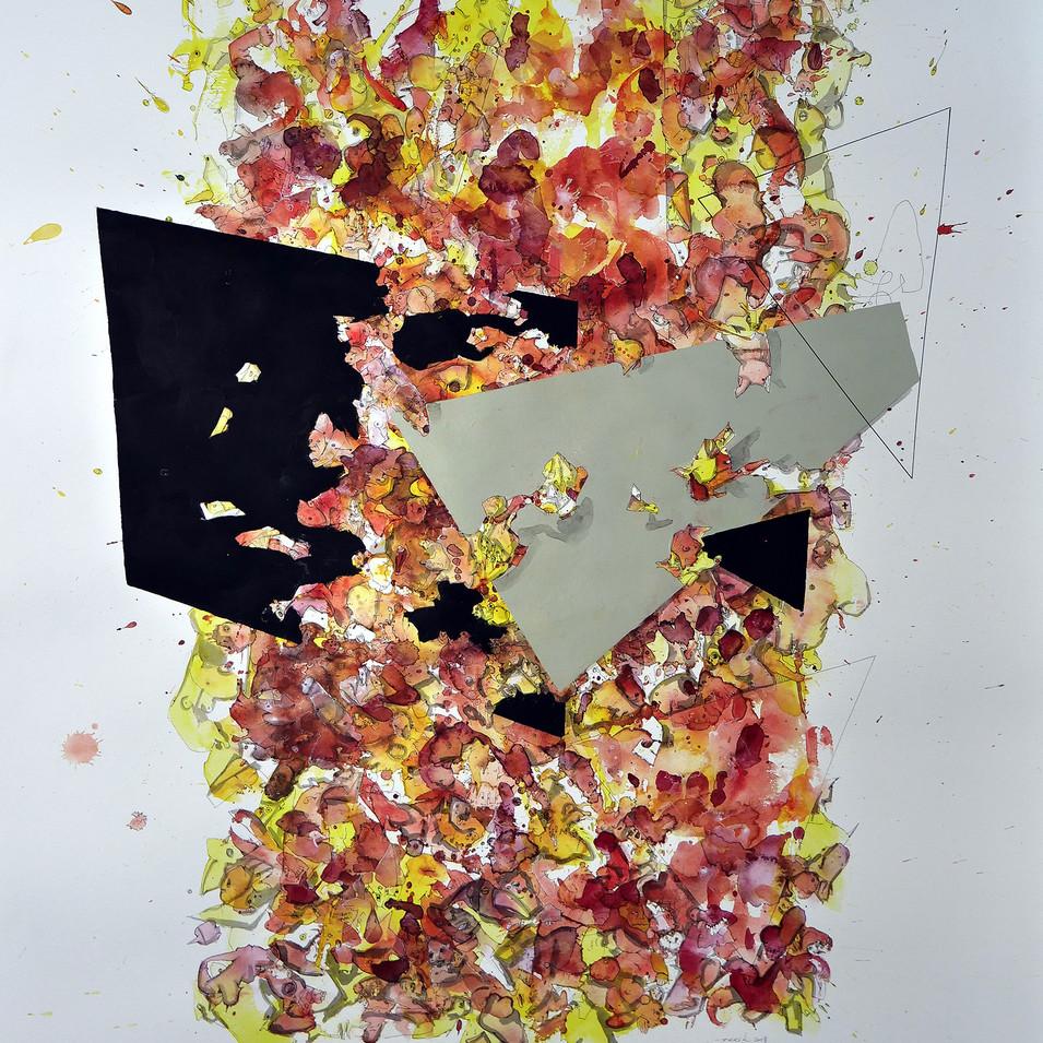 Aufgang 2018 Aquarell, Acryl, Pigmenttinte auf Papier 100 x 70 cm