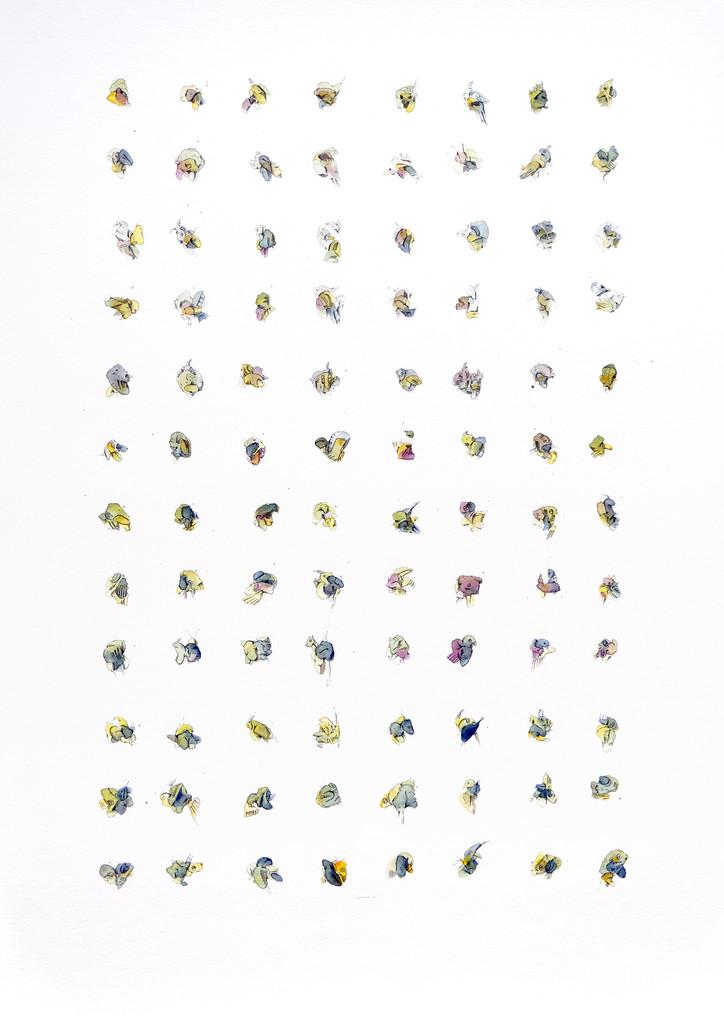 "Peer Kriesel So grün (aus der Serie ""Essences"") 2019 Aquarell, Acryl, Pigmentinte auf Papier, 100 x 70 cm"