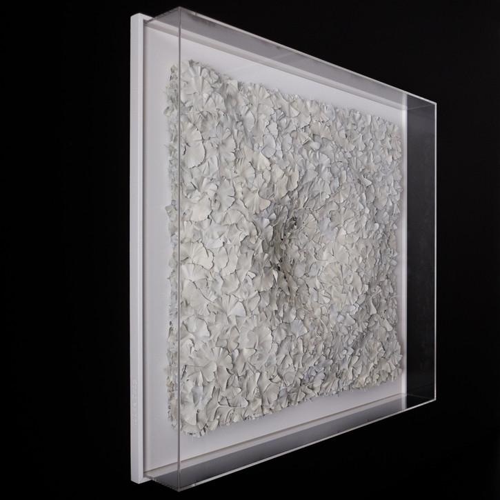 Hilde Trip Witte pracht 2020 Gingko Biloba Blätter 105 x 105 cm