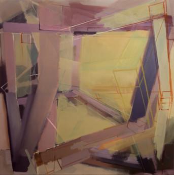 Christoph Kern Horopter 2018 Eitempera, Öl, Pigmente auf Nessel 100 x 100 cm