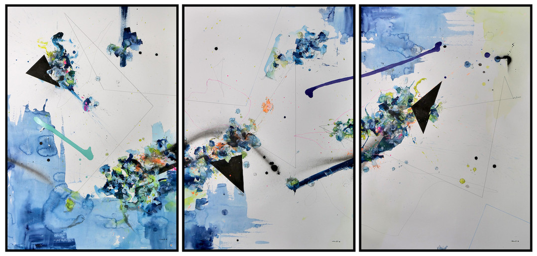Peer Kriesel Mascarade abstraite I-III 2018 Aquarell, Acryl, Pigmenttusche auf Papier je 100 x 70 cm