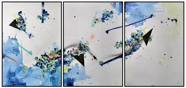 Mascarade abstraite I-III 2018 Aquarell, Acryl, Pigmenttusche auf Papier je 100 x 70 cm