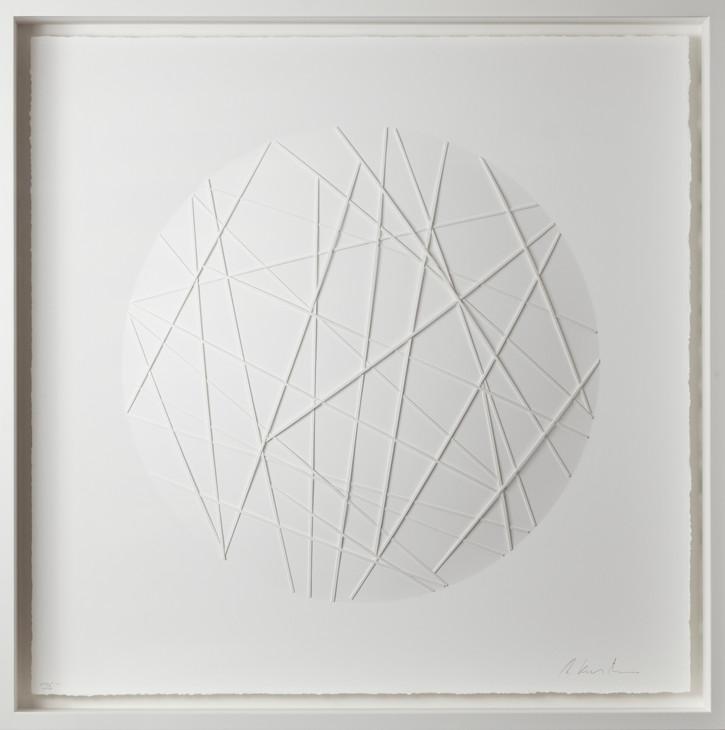 Ralph Kerstner Sunny Net 2020 Prägung in Büttenpapier 100 x 100 cm