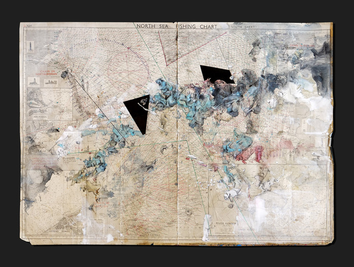 Peer Kriesel Übersee 2020 Mischtechnik auf Seekarte 73 x 103 cm