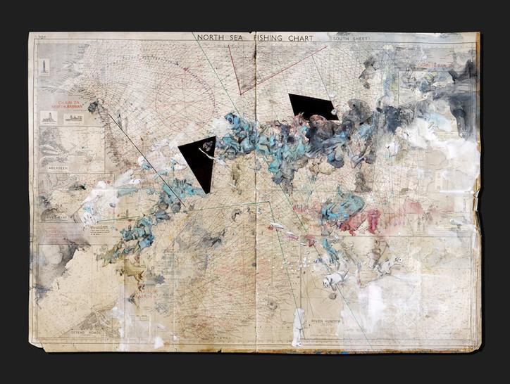 Übersee 2020 Aquarell, Acryl, Pigmentinte auf alter Seekarte 73 x 103 cm