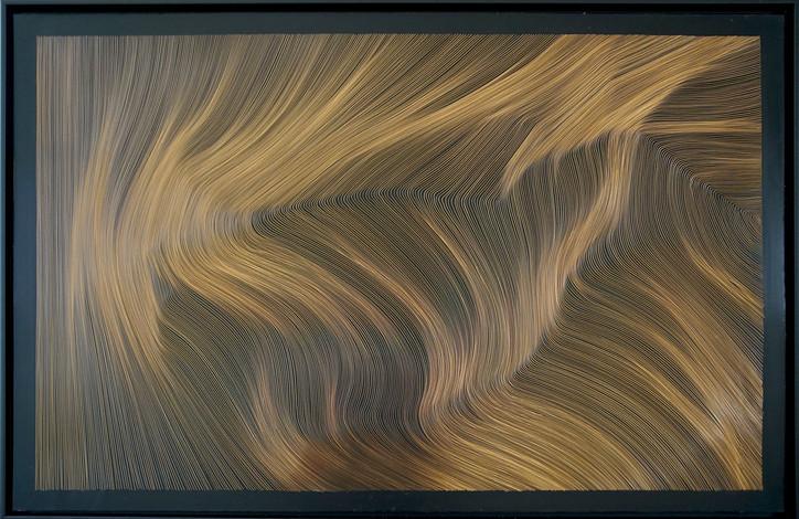 John Franzen Each Line one Breath 2017 Radierung auf schwarz überzogener kupfereloxierter Aluminiumplatte 80 x 120 cm