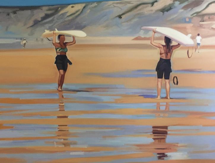 Cameron Rudd Surfer Girls 2017 Öl auf Leinwand 60 x 80 cm - verkauft -