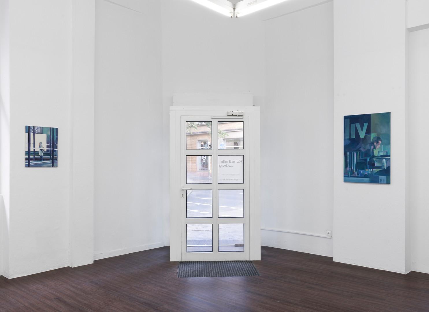 """Ausstellungsansicht """"Eyes wide open"""" in der Kunsthalle Ludwig, Frankfurt: Felix Eckardt kleine Leinwände"""